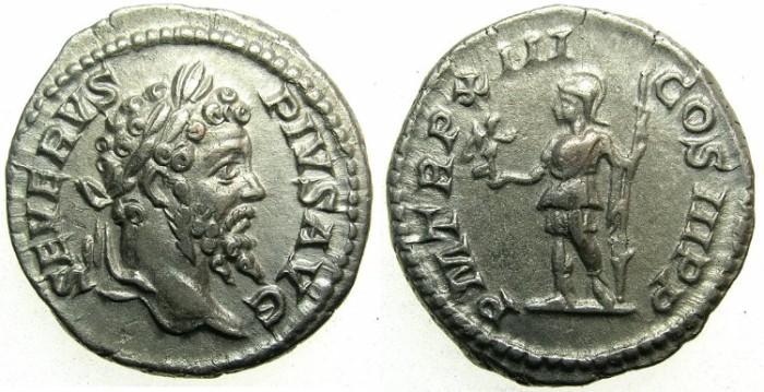 Ancient Coins - ROMAN.Septimius Severus AD 192-211.AR.Denarius AD 205.~~~Roma standing holding Victory.
