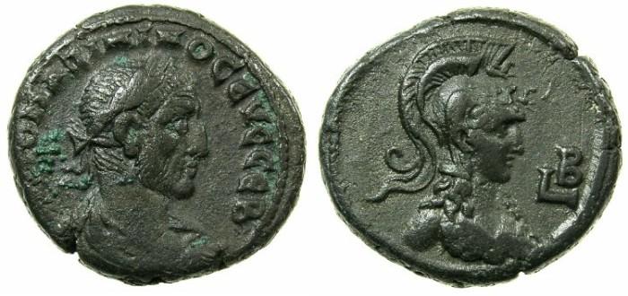 Ancient Coins - EGYPT.ALEXANDRIA.Maximianus AD 235-238.Billon Tetradrachm, struck AD 235/236.~#~.Bust of Athena wearing crested helmet.