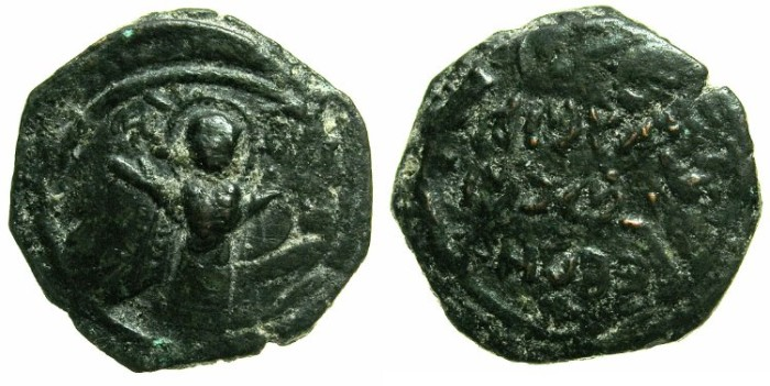 Ancient Coins - CRUSADER STATES.ANTIOCH.Roger of Salerno, regent AD 1112-1119..AE.Follis, 2nd type~~~Virgin orans.