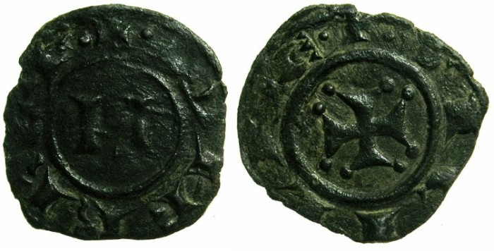 Ancient Coins - ITALY.SICILY.Manfred AD 1258-1264.Billon Denaro.Mint of MESSINA.