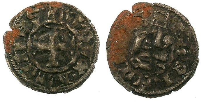 Ancient Coins - CRUSADER.Dukedom of Athens.William I (1280-87) or Guy II ( 1287-1308).Bi.Denier