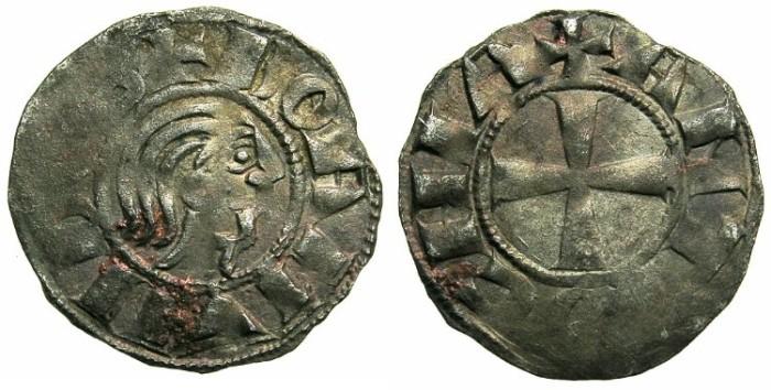 "Ancient Coins - CRUSADER.ANTIOCH.Bohemond III AD 1149-1163.Bi.""Bare head"" Denier.Class C."
