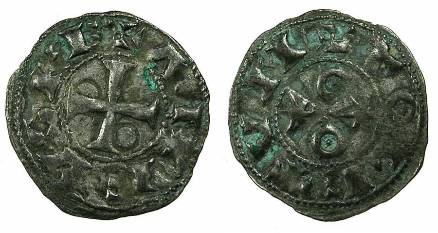 World Coins - SPAIN.Castile and Leon. Alfonso VI 1073-1109.Billon.Obol.Mint of TOLEDO. ***RARE DENOMINATION****