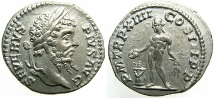 Ancient Coins - ROME.Septimius Severus AD 193-211.AR.Denarius AD 206.Mint of ROME.Genius standing left.