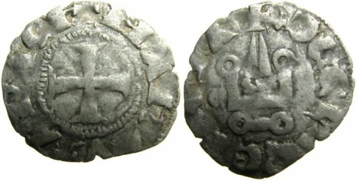 Ancient Coins - CRUSADER.ACHAIA.Mahault of Hainault AD 1316-1321.Bi.Denier.Type MA2.~~~Roman M