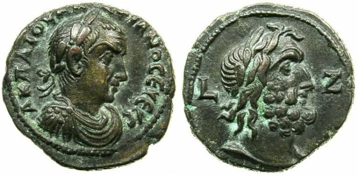 Ancient Coins - EGYPT.ALEXANDRIA.Valerian I ( The elder ) AD 253-260.Billon Tetradrachm Struck AD 259/60.~#~.bust of Zeus.