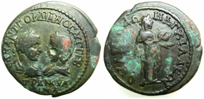 Ancient Coins - THRACE.ANCHIARLUS.Gordian III and Tranquillina AD 241-244.AE.27.4mm.~#~.Hygenia standing right holding patera and snake.