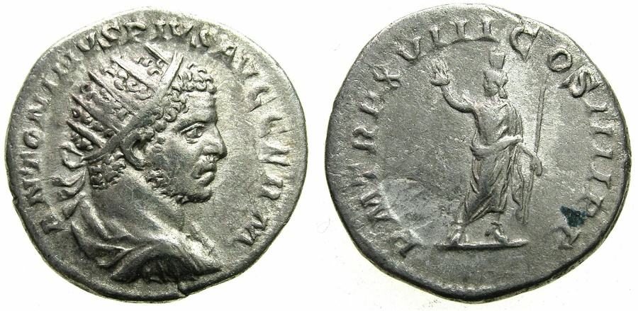 Ancient Coins - ROME.Caracalla AD 198-217.Billon Antoninianus.Struck AD 216.~#~.Serapis standing.