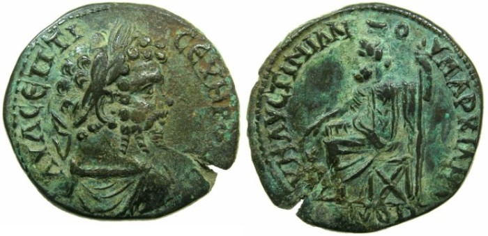 Ancient Coins - MOESIA INFERIOR.MARCIANOPOLIS.Septimius Severus AD 193-211.AE.27mm.~#~. Hades- Serapis enthroned.