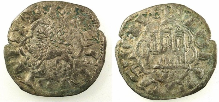 Ancient Coins - SPAIN.CASTILE AND LEON.Alfonso X 1252-1284.Bi.Denaro.Coruna mint.