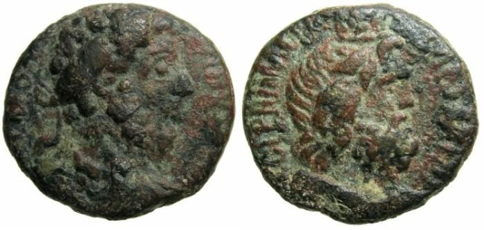 Ancient Coins - PALESTINE.CAESAREA MARITIMA.Marcus Aurelius AD 161-180.AE.23.2mm.~#~Serapis wearing modius.