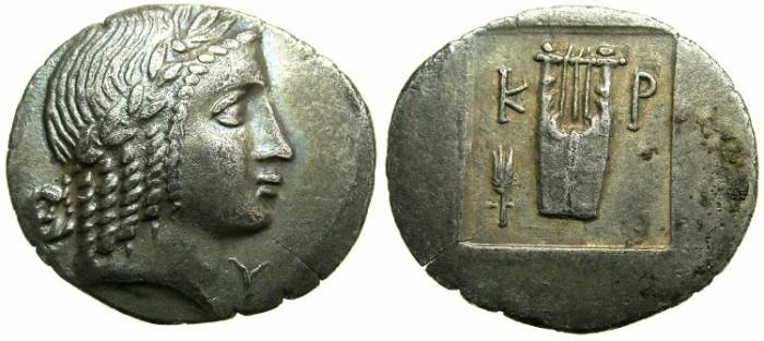 Ancient Coins - LYCIA.LYCIAN LEAGUE.Kragus 30-27 BC.AR.Hemi drachma.~~~Apollo ~~~Kythara.