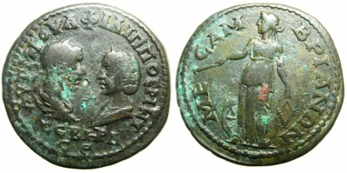 Ancient Coins - THRACE.MESEMBRIA.Philip I and Otacilia Severa AD 244-249.AE.27~~~Nemesis standing left.