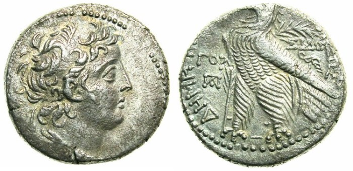 Ancient Coins - SELEUCID EMPIRE.Demetrius II 1st reign 145-138 BC.AR.Tetradrachm.Struck 140/1 BC.Mint of SIDON.