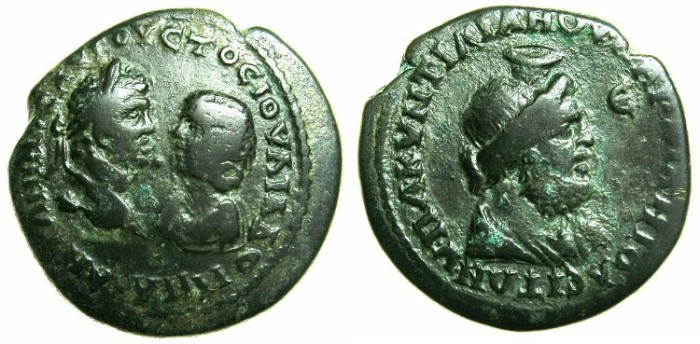 Ancient Coins - MOESIA INFERIOR.MARCIANOPOLIS.Caracalla and his mothe Julia Domna AD 212-217.AE.5 Assaria. ~#~.Large bust of SERAPIS.