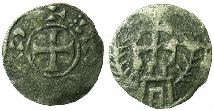 Ancient Coins - CRUSADER.JERUSALEM.Anonymous Royal or Patriarchal.Bi.Denier.Double cross on pedestal