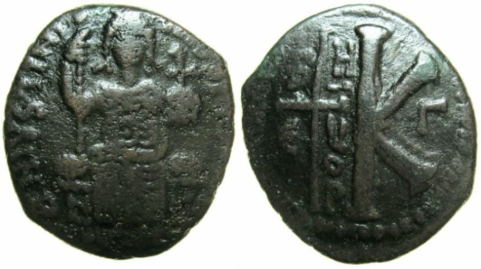 Ancient Coins - BYZANTINE EMPIRE.Justinian I AD 527-565.AE.Half Follis.Mint of ANTIOCH-THEOUPOLIS~~~Justinian I enthroned.
