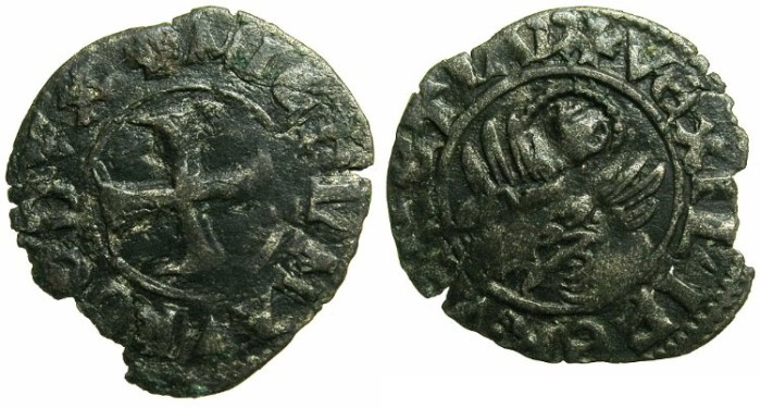 Ancient Coins - CRUSADER.GREECE under VENICE.Michael Morosin AD 1382.Bi.Tornesello.~~~~EX SLOCUM COLLECTION.