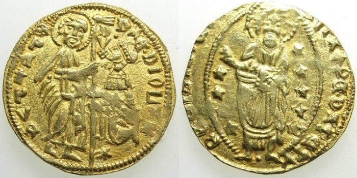 Ancient Coins - CRUSADER STATES.CHIOS.Filippo Maria Visconti 1421-1436.AV.Ducat.varient with STAR below doges knee.