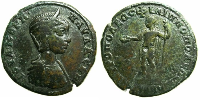 Ancient Coins - THRACE.PHILIPPOPOLIS.Cornelia Julia Paula, first wife of Elagabalus AD 219-220.AE.27.Bust of Julia Paula.Apollo?