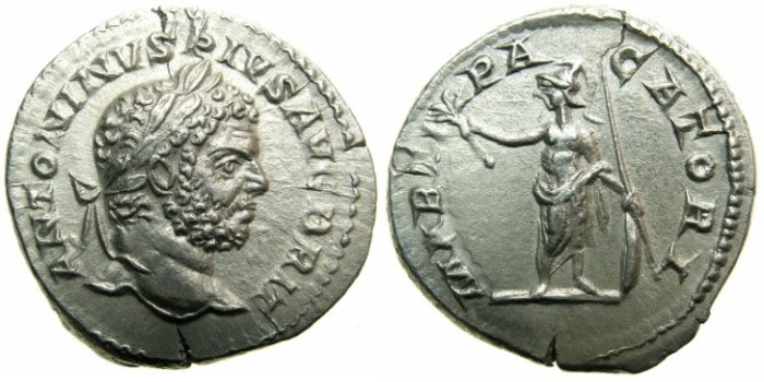Ancient Coins - ROMAN.Caracalla Sole Emperor AD 212-217.AR.Denarius undated issue c.210-213.