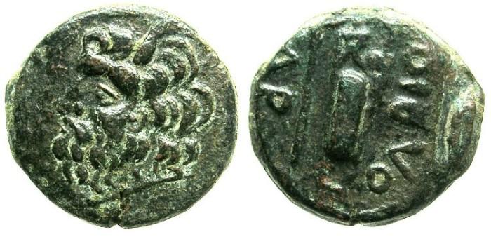Ancient Coins - BLACK SEA.OLBIA.Circa 300-250 BC.AE.20.BLACK SEA.OLBIA.Circa 330-250 BC.AE.20.River god Borusthenes.Axe,Sceptre and bow case.