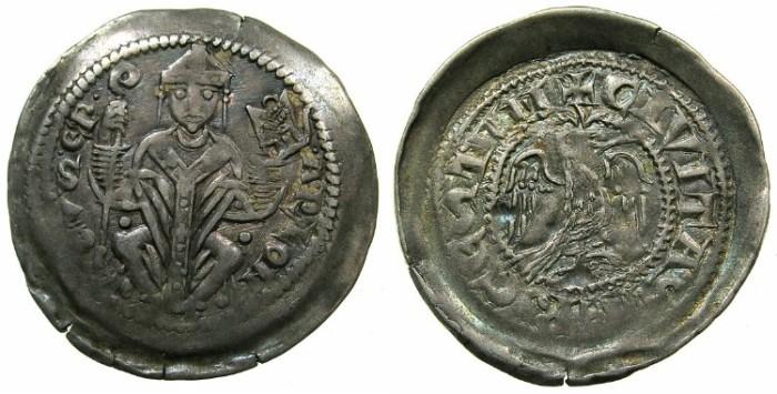Ancient Coins - ITALY.TRIEST.Arlongus von Voitsberg AD 1254-1280.AR.Denar.~#~.Eagle.