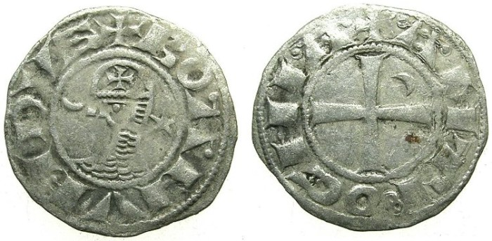 Ancient Coins - CRUSADER.ANTIOCH. Bohemond III or IV c.1149-1233 Bi.Denier.class E.