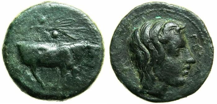 Ancient Coins - SICILY.GELAS.Circa 420 - 405 BC.AE.Trias.Bull.River God.
