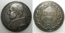 World Coins - ITALY.PAPALCY.Pope Gregory XVI 1831-1846.AR.Scudo.1837 Anno VII.Mint of ROME.