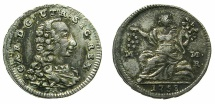 World Coins - ITALY.Kingdom of Naples and Sicily.Carlo Borbone 1734-1759.AR.5 Granna 1758. Mint of NAPLES.