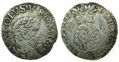 World Coins - ITALY.NAPLES.Charles V AD 1516-1556.AR. Carlino. Varient with SICILY written in full SICILIE
