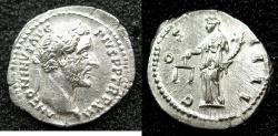 Ancient Coins - ROME.Antoninus Pius AD138-161.AR.Denarius struck AD 148-49.Mint of ROME.~#~.Aequitas standing.