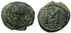 Ancient Coins - BYZANTINE EMPIRE.Anastasius AD 491-518.AE.Follis, small modue.Mint of CONSTANTINOPLE.
