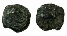 Ancient Coins - EGYPT.ALEXANDRIA. Antoninus Pius AD 138-161.Anepigraphic issue.AE.Chalkon.struck AD 148/49.Reverse.Ibis. Denomination not recorded in Emmett.