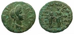 Ancient Coins - IONIA.Alliance coinage: EPHESUS and SMYRNA.Domitia, wife of Domitian, Augusta AD 82-96.AE.20.5mm. Struck Circa AD 91-95, under Caesennius Paetus Proconsul.