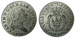 World Coins - ITALY.SARDINIA.Carlo Emanuele III 1730-1773.Billon. 7.6 Soldi.Mint of TURIN.