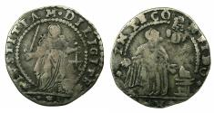 World Coins - ITALY.VENICE.Alvise IV Mocenigo  AD 1763-1778, anonymous issue.AR.Mezza Liretta.No date. Doge in the stance of Saint Francis recieving the Stigmata.
