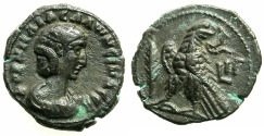 Ancient Coins - EGYPT.ALEXANDRIA.Salonina, wife of Gallienus AD 263-268.Billon Tetradrachm, struck AD 265/66.~#~.Eagle with Palm branch.