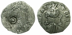 World Coins - SERBIA.Stefan VIII Uros IV as Tsar AD 1345-1355.AR.Dinar with Bulgarian countermark concentric circle.
