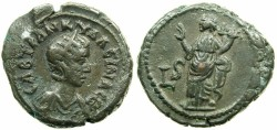 Ancient Coins - EGYPT.ALEXANDRIA.Tranquillina, wife of Gordian III AD 241-244.Billon tetradrachm.Struck AD 242/43.~#~.Homonia standing.