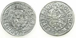 World Coins - GERMANY.TRIER.Archdiocese. Karl Casper von der Leyen AD 1652-1676.AR.Petermenger ( 1 Albus ) 1671.Arabic numerials.