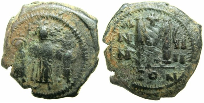 Ancient Coins - BYZANTINE EMPIRE.Heraclius AD 610-641.AE.Follis, struck AD 618/19.Mint of CONSTANTINOPLE.