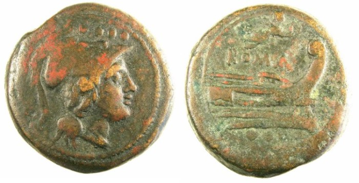 Ancient Coins - ROME.REPUBLIC.AE.Triens c.211-206 BC.Roma ( or Minerva ) Rev.Prow, Victory above