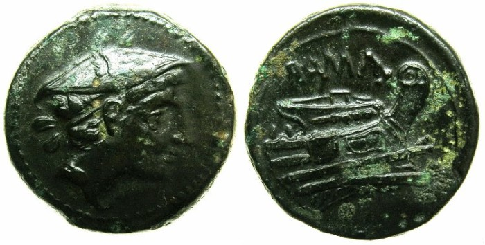 Ancient Coins - ROME.REPUBLIC.Circa 277-215 BC.AE.Semiuncia.~~~Mars wearing winged petasus~#~prow.