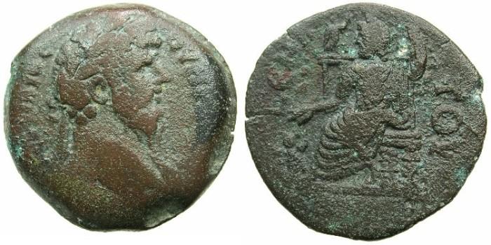 Ancient Coins - EGYPT.ALEXANDRIA.Lucius Verus AD 161-169.AE.Drachma.struck AD 168/169.~#~.Hades-Serapis enthroned.****RARE LAST YEAR OF VERUS****