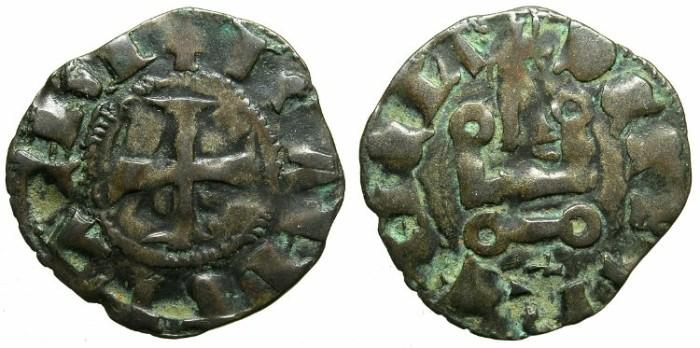 Ancient Coins - CRUSADER.ACHAIA.Matilda of Hainault AD 1316-1321.Bi.Denier.Type MA3.Roman letter M.