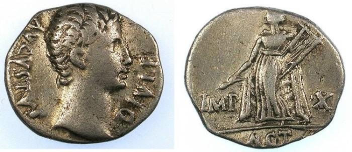 Ancient Coins - ROME Augustus 27BC-AD 14 AR.Denarius Lugdunum mint