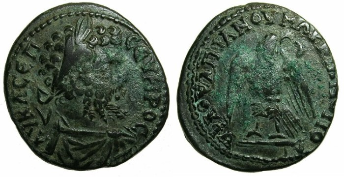 Ancient Coins - MOSEIA INFERIOR.MARCIANOPOLIS.Septimius Severus AD 193-211.AE.27mm.Eagle, wreath in beak.