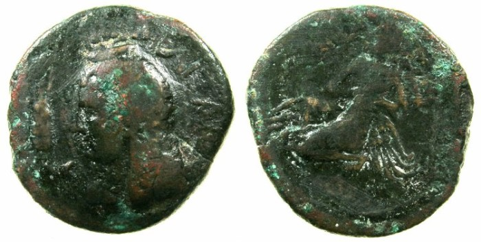 Ancient Coins - MELITIA ( MALTA ).2nd - 1st Cent.BC.AE.26.~~~Isis. ~#~.Osiris with four wing